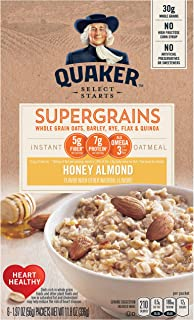 Quaker Super Grains Instant Oatmeal, Honey Almond, Individual Packets,6 count (Pack of 6)