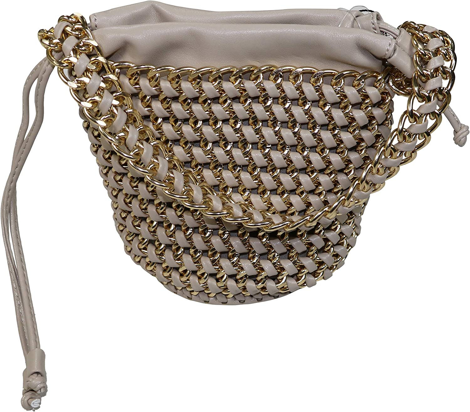 Street Level Chain & Woven Faux Leather Drawstring Bucket Bag
