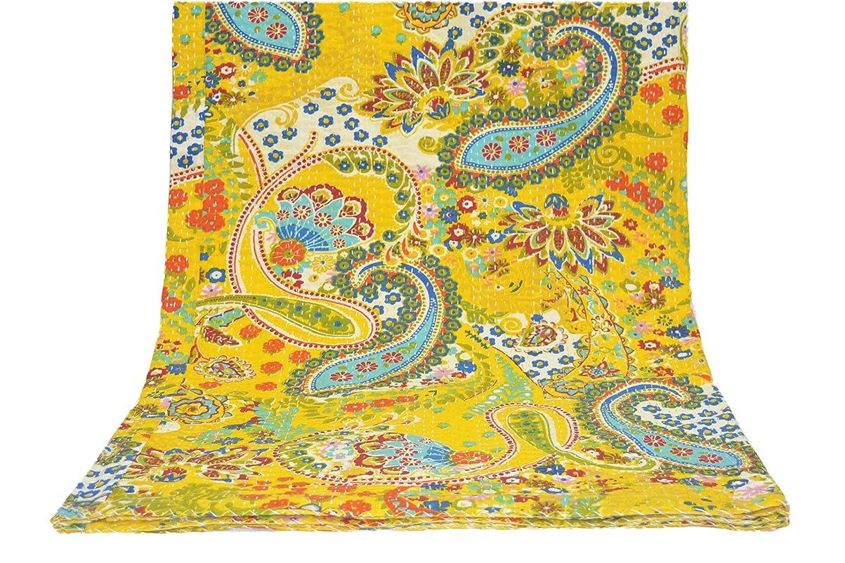 出撃者人道的眠いですYellow Multicolor Paisley Print Queen Size Kantha Quilt, Kantha Blanket, Bed Cover, King Kantha bedspread, Bohemian Bedding 230cm x 270cm