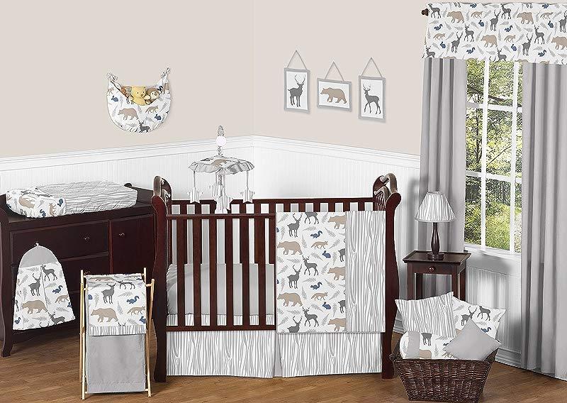 Sweet Jojo Designs 11 Piece Blue Grey And White Woodland Animal Safari Bear Deer Fox Baby Boy Bedding Crib Set Without Bumper