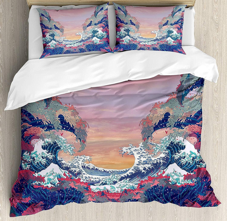Modern Ultra Soft 4 Pieces Bedding Sets, colorful Fantasy Sea Waves Ocean Modern Fictional Nautical Magic Artsy Illustration, Luxury Decorative Bedspread Duvet Cover Set, Multicolor