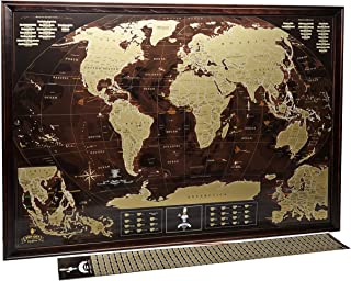World Scratch Off Map Wall Poster with US States Coffee Gold enLarge Europe and Asia Map 35x 25 Push Pin Travel Map to Mark your Trips and Adventures by MyMap