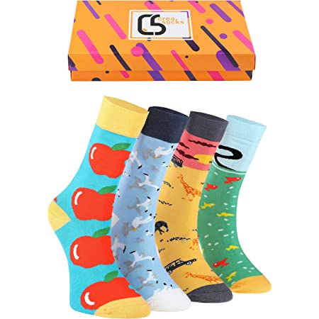 Creasocks Funny Socks Men, Novelty, Funky, Quirky, Colourful Silly Socks for gifts, Cotton, Gifts for men UK 7-11 Unique patterned odd socks 4 pair Unisex