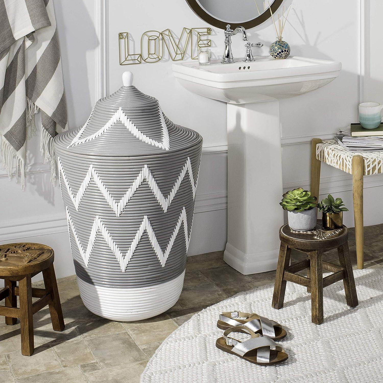 Safavieh Home Collection Reina Rattan Na Max 64% OFF Basket Jar Hamper Max 48% OFF Grey