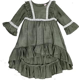 Áo quần dành cho bé gái – Toddlers and Girls (2T-7/8) Prairie Pretty Ruffled High-Low Soft Cotton Dress