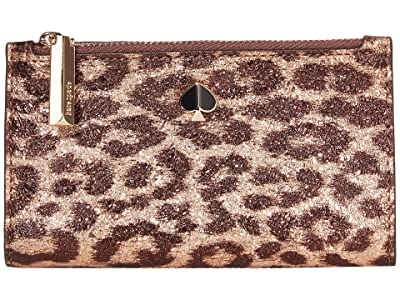 Kate Spade New York Metallic Leopard Small Slim Bifold Wallet (Rose Gold Multi) Bill-fold Wallet