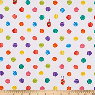 Andover Hungry Caterpillar Bright Dots White Fabric