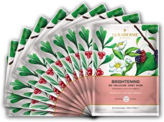LuxaDerme Brightening Bio Cellulose Face Sheet Mask (Pack Of 10) Infused With Essence Containing Arbutin, Niacinamide, Botanical Extracts & Antioxidants To Give An Instant Dose Of Radiance And Glow