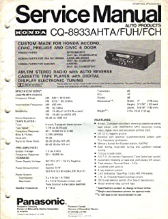 Panasonic CQ 8933AHTA FUH FCH HONDA Accord Civic Prelude AM FM Stereo Cassette Digital Tuner, Service Manual Instructions