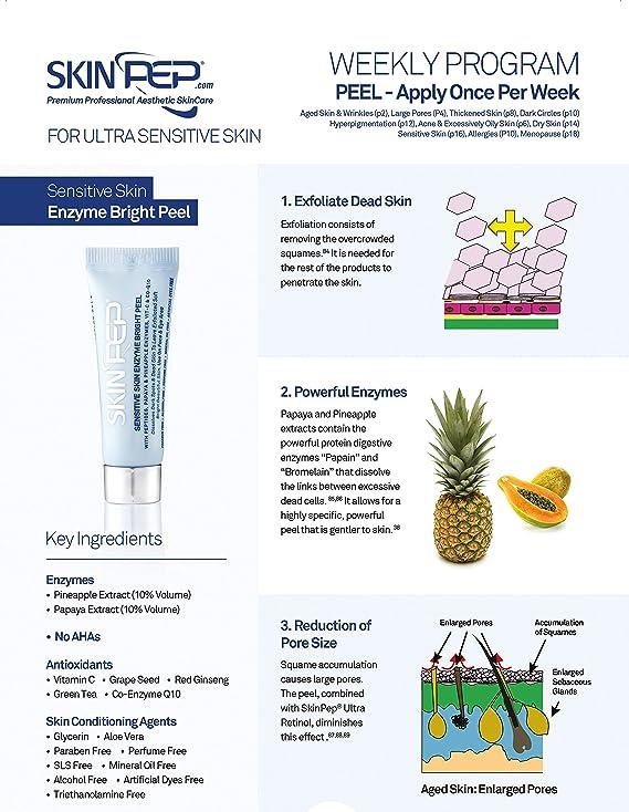SkinPep SkinPep Gel pelador de piel sensible (4 x 7 ml) + enzimas de piña y papaya + péptidos + vitamina C - Gel pelador de grado profesional SkinPep ...