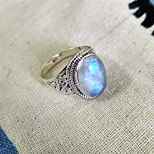 PURE 925 SILVER FIRE RAINBOW MOONSTONE HANDMADE MOTHERS GIFT BOHEMIAN GYPSY RING