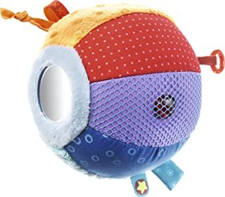 HABA Discovery Ball All Colors - Soft Colorful Tactile Patterns with Rings, Tags, Rattle & Mirror