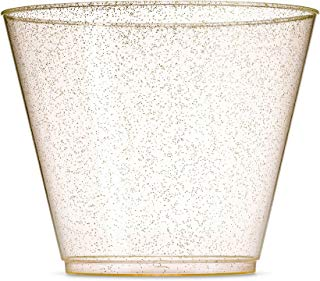 100 Glitter Plastic Cups - 9 Oz Clear Plastic Cups Old Fashioned Tumblers -Gold Glitter Cups Disposable Wedding Cups Party Cups