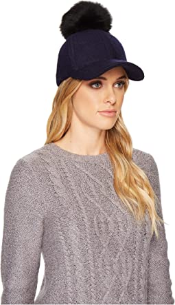 UGG - Fabric Baseball Hat with Fur Pom