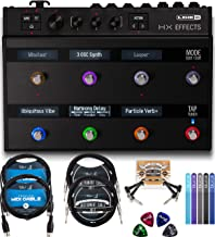Line 6 HX Effects Processor Bundle with DC-3G Power Supply, Blucoil 2-Pack of 10-FT Mono Instrument Cables, 2-Pack of 5-FT MIDI Cables, 2x Patch Cables, 4x Guitar Picks, and 5x Cable Ties