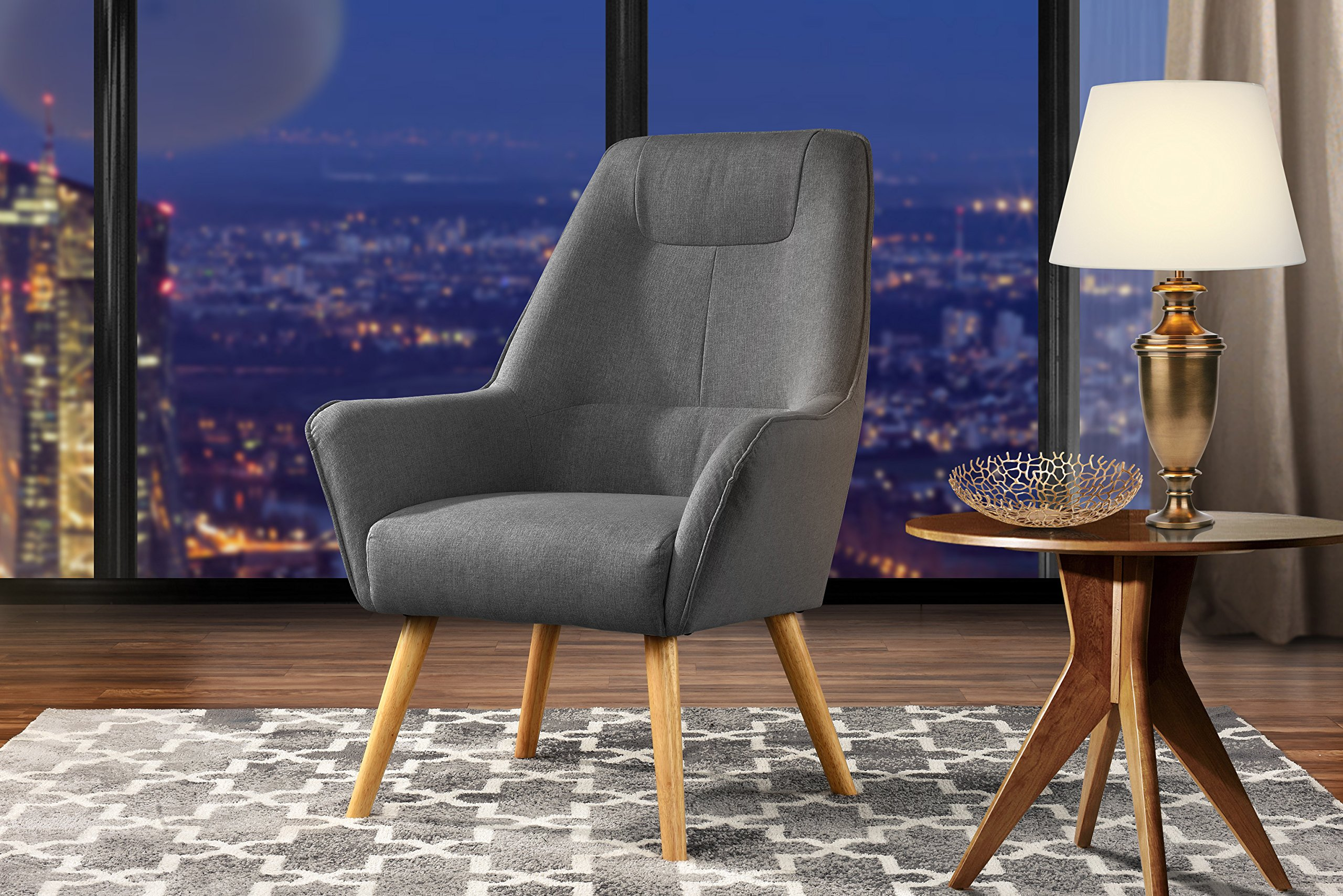 Divano Roma Furniture Accent Living Room Upholstered Linen Arm Chairs With Natural Wooden Legs Dark Grey Buy Online In India Divano Roma Furniture Products In India See Prices Reviews