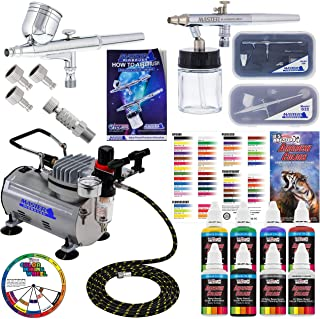 Master Airbrush 2 Airbrush Professional Acrylic Paint Airbrushing System Kit with 6 U.S. Art Supply Primary Opaque Paint Colors Artist Set - Gravity Siphon Feed Airbrushes, Air Compressor, Guide Chart