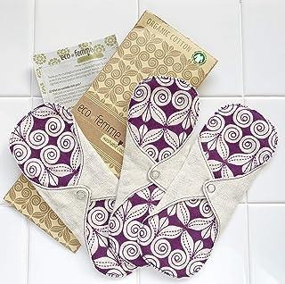 軽い日用3枚セット 南インド「Eco Femme」布ナプキン 洗えるオーガニックコットン(肌面無漂白)防水なし・内側に3層のフランネル使用