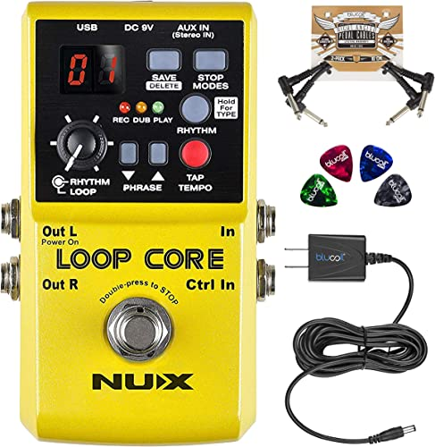 high quality NUX Loop Core Looper Effects Pedal with Tap Tempo Bundle with Blucoil Slim 9V 670ma Power Supply AC Adapter, 2-Pack 2021 of Pedal Patch Cables, and 4-Pack of Celluloid Guitar 2021 Picks outlet sale