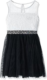 فستان للبنات من My Michelle بدون أكمام مع خصر بلون الراين وأزهار مزخرفة وزخارف شفافة