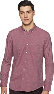 Amazon Brand - Symbol Men's Solid Slim Fit Full Sleeve Cotton Casual Shirt