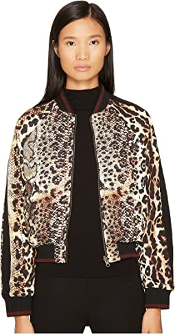 Mixed Animal Print Bomber Jacket