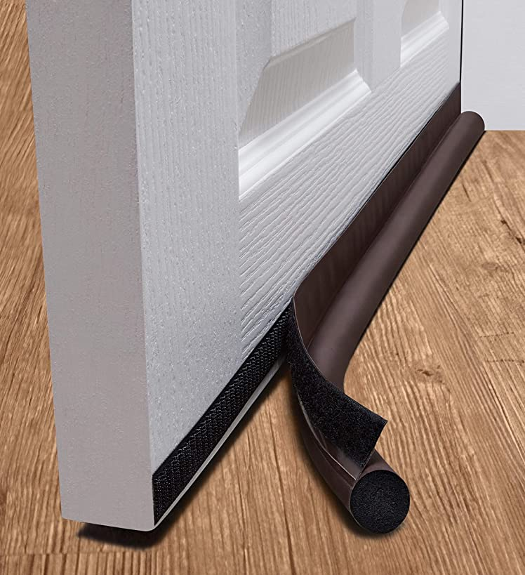 "deeToolMan Door Draft Stopper 39"" : One Sided Door Insulator with Hook and Loop Self Adhesive Tape Seal Fits to Bottom of Door/Door Weather Stripping(Brown)"