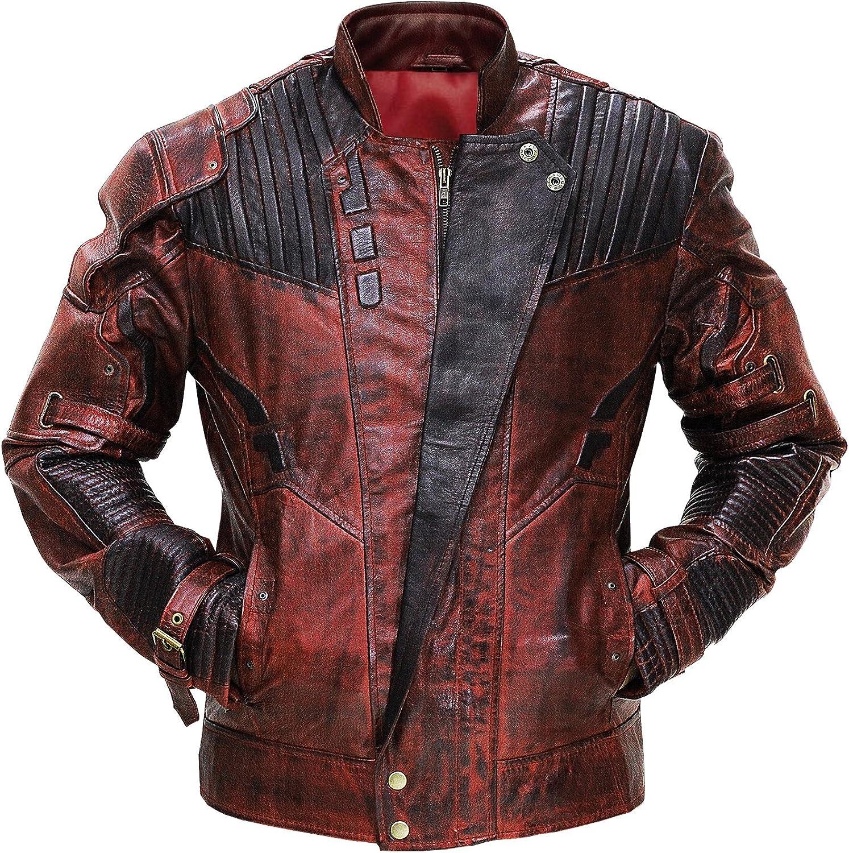 Mens Superhero Star Biker Maroon Cosplay Costume Leather Jacket Faux / Real