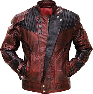 Red Biker Leather Jacket Mens - Distressed Maroon Leather Jacket for Motorcycle Cosplay Costume