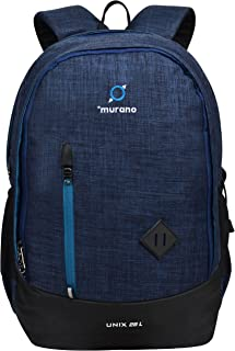 Murano Unix 28 LTR Casual Backpack with 2 Compartment and Polyester Water Resistance Backpack for Men and Women- Navy Blue