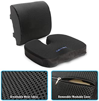 Plixio Memory Foam Seat Cushion and Lumbar Back Support Pillow- Chair Pillow for Sciatica, Coccyx, Back & Tailbone Pa...