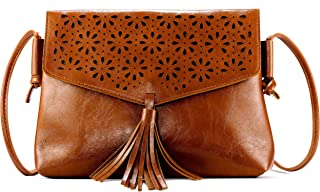 Elios Hollow Out Carving Casual College Crossbody Sling Bag with Decorative Tussel for Women and Girls (Brown)