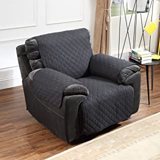 Argstar Reversible Recliner Chair Cover Anti Slip Furniture Slipcover Black/Light Gray