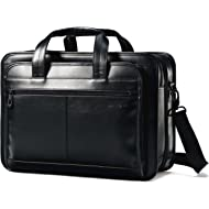 Leather Expandable Briefcase, Black