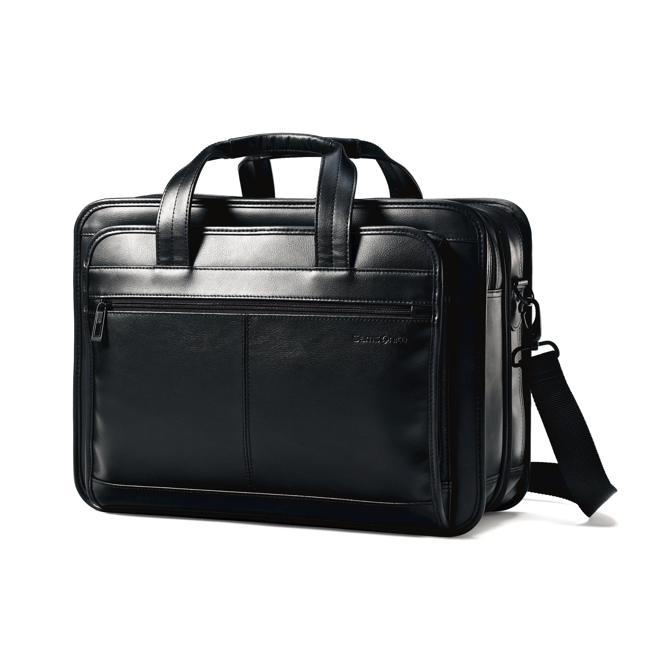 Samsonite Leather Expandable Briefcase Black