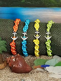 Sea Glass and Sterling Silver Earrings with Nautical Satin Cord Friendship Bracelets (Set of 4)