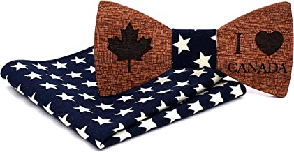 Mahoosive Men's National Flag Wooden Bow Tie and Pocket Square Set With Gift Box