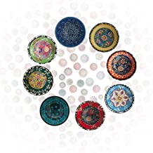 NIKITA Decorative Design Turkish Ceramic Bowl Set of 6 - Handcrafted Multicolor Small Bowl