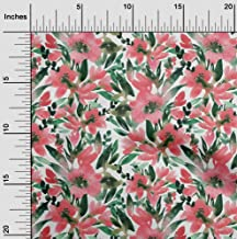 oneOone Cotton Cambric Red Fabric Leaves & Floral Watercolor Dress Material Fabric Print Fabric by The Yard 42 Inch Wide