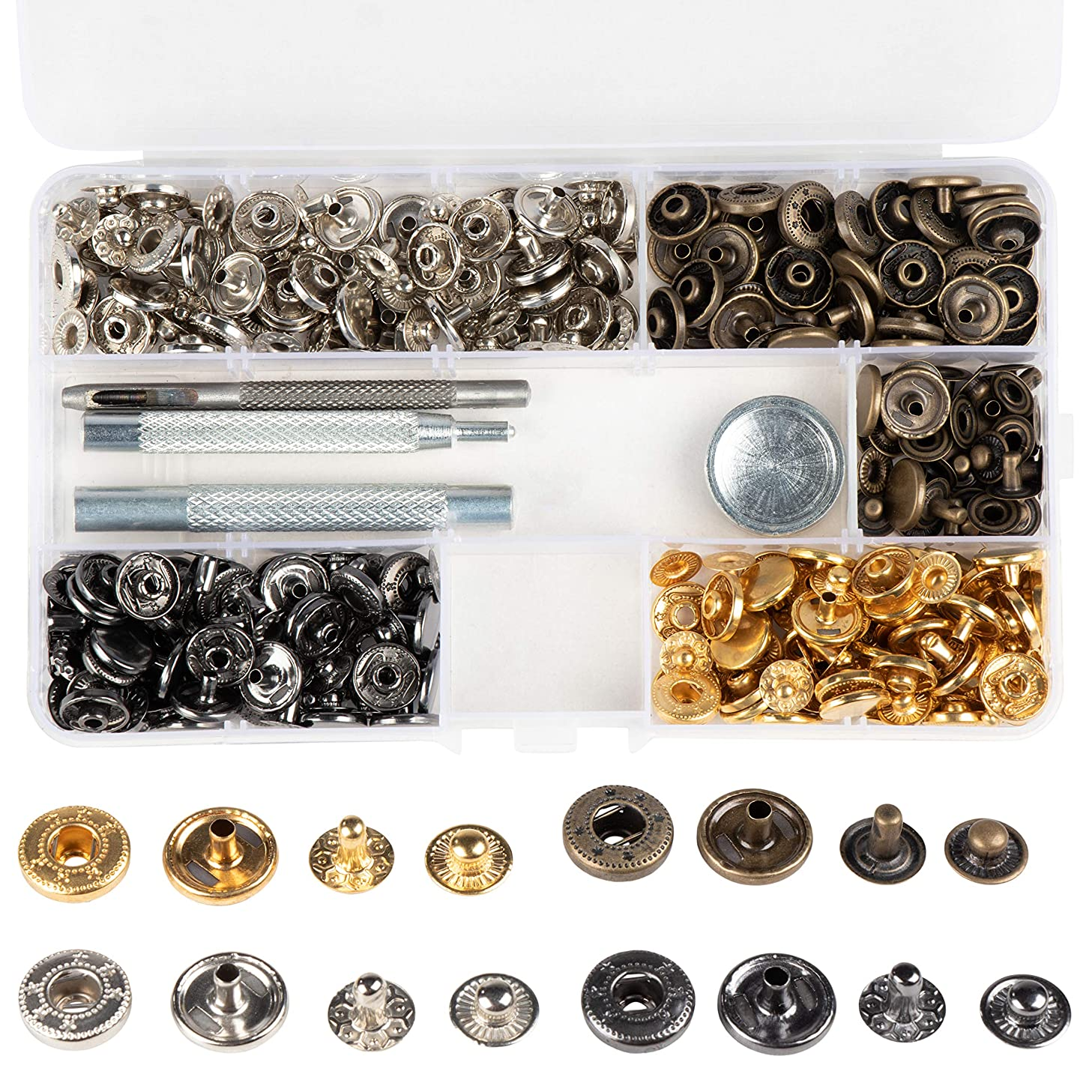 Snap Fastener Kit - 160-Piece Snap Buttons, with 4-Piece Tools, Clothing Snaps, Metal Snaps, Press Studs, for Leather, Craft, Repairing, Jeans, Coat, Bags, 4 Colors, 9 mm - 12 mm Diameter