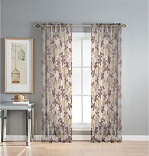 Window Elements Ashville Printed Extra Wide 54 x 84 in. Rod Pocket Sheer Curtain Panel, Chocolate