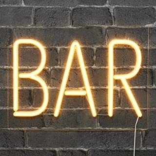 SKYLANTERN Néon Bar Blanc 40cm - Enseigne Lumineuse Mural avec Interrupteur on/Off - LED Light Vintage avec Prise Murale