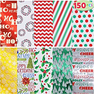 JOYIN Holiday Tissue Paper Assortment (Ten Colors), 150-Piece Set Christmas Design Solid, Holiday Holographic and Printed ...