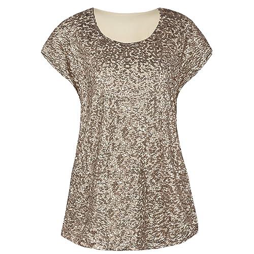 2ffcdd50e2b kayamiya Women s Sequin Top Plus Size Short Sleeve Glitter Tunic Blouse Tops