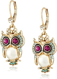 Betsey Johnson Pearl Critters Owl Drop Earrings