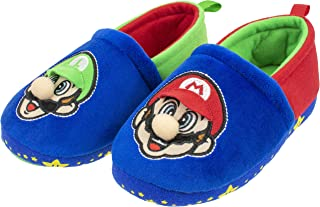Super Mario Slippers for Kids, Mario and Luigi Nintendo Slippers,Slip-On Slippers, Plush, Little Kid/Big Kid Sizes 11 to 5