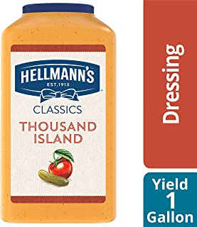 Hellmann's Classics Thousand Island Salad Dressing Jug Gluten Free, No Artificial Flavors, added MSG or High Fructose Corn Syrup, Colors from Natural Sources, 1 gallon, Pack of 4