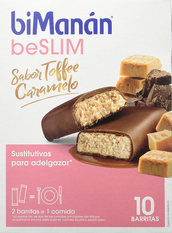 BiManán beSLIM - Barritas Sustitutivas Sabor Toffee Caramelo, para ayudarte a controlar tu peso - Caja de 10 unidades