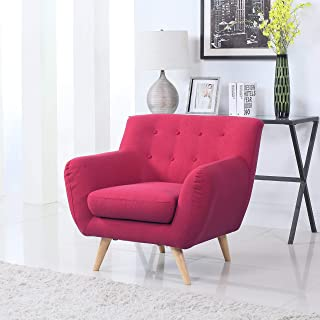 Divano Roma Furniture Modern Mid Century Style Sofa, Red,...