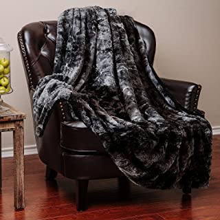 Chanasya Faux Fur Throw Blanket | Super Soft Fuzzy Light Weight Luxurious Cozy Warm Fluffy Plush Hypoallergenic Blanket for Bed Couch Chair Fall Winter Spring Living Room (50 x 65) - Black